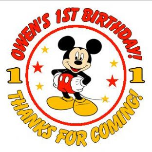 Personalised Mickey Mouse Party Stickers.